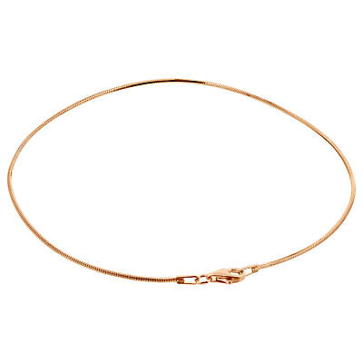14k Rose Gold over 925 Sterling Silver Vermeil 1mm Snake Chain Anklet
