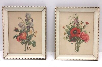 Lot Of (2) Vintage Prints Of Bouquets Of Flowers Spring And Summer Blooms