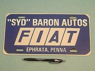 VINTAGE 1970's EARLY 80's SYD BARON FIAT EPHRATA PA. ADVERTISING LICENSE PLATE