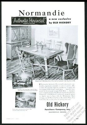 1953 Old Hickory furniture Normandie dining table chairs photo vintage print ad