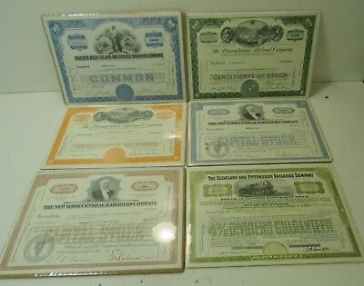 Lot Of 6 Vintage Railroad Company Stock Certificates
