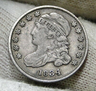1834 Capped Bust Dime 10 Cents - Nice Coin, Free Shipping  (5954)
