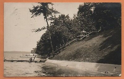 IN Indiana Syracuse Lake Wawasee Stairs Steps Kosciusko County Postcard RPPC