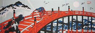 Japanese Tenugui Cloth 'Spiderman on Kyoto's Gojo Bridge' Marvel Cotton Fabric