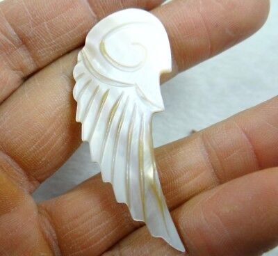 56*24MM Natural Sea SHELL carved wing Pendant necklace Jewelry Making No hole