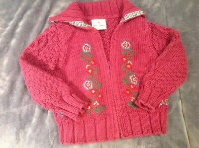 Toddler Girl's Purple And Floral Zip Up Sweater, Hanna Andersson, Size 90, EUC