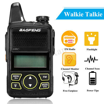 BAOFENG BF-T1 UHF 400-470MHz 20 Channel Mini Walkie Talkie FM Radio + Earpiece
