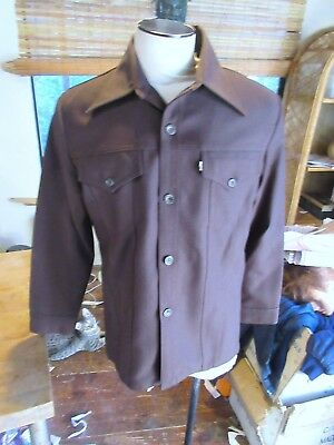 Vtg Levis Leisure Suit Shirt Jacket.Brown mans large. NOS NWOT. New without tags