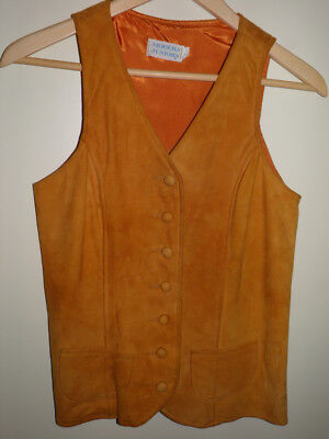 Vintage 1970's Womans Modern Juniors Rust Suede Lined Vest - Size 7
