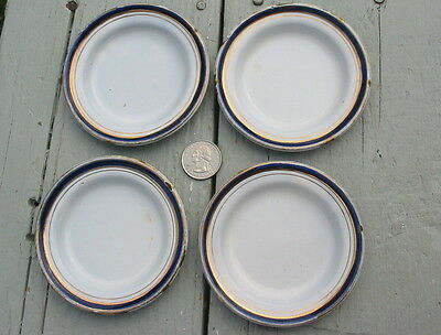 Vtg Old Antique Graniteware Enamelware Soup Bowl Toy Child Dish Set 4 Lot Blue