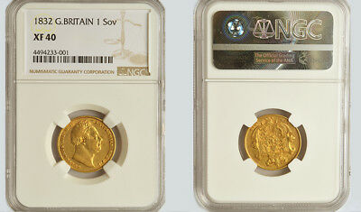 KING WILLIAM THE IV 1832 GOLD SOVEREIGN NGC Extra Fine 40