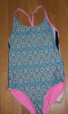Ivivva by Lululemon Reversible Leotard Bodysuit Pink Geometric Girls Size 12, EC