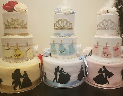 Beautiful, unique Disney Princess inspired 3 Tier Nappy Cake
