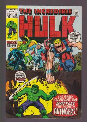 Incredible Hulk # 128  To Battle the Mighty Avengers !  grade 8.0  scarce book !