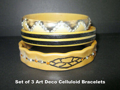 Vintage Set of 3 Art Deco Celluloid Bracelets
