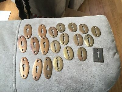 VINTAGE OVAL SKELTON KEY HOLE FACE PLATE COVER - lot of  21