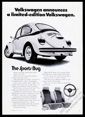 1973 VW Beetle classic car photo The Sports Bug 11x8 vintage Volkswagen print ad