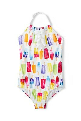 LANDS' END Toddler Girls 4T Halter One-Piece Popsicle Swimsuit Bathing Suit NWT