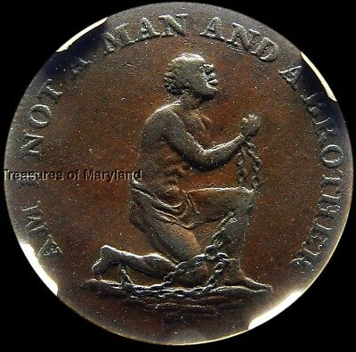 "NGC XF45! 1790's ""AM I NOT A MAN AND A BROTHER"" Slavery Halfpenny! sku #8032"