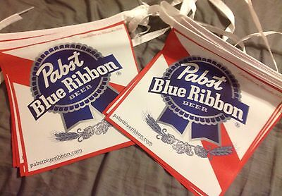 Pabst Blue Ribbon streamer pennants - 18 flags - 12 by 12 - Brand New