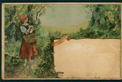 HTL original hold to light Little Red Riding Hood wolf fairy tale 1900s postcard