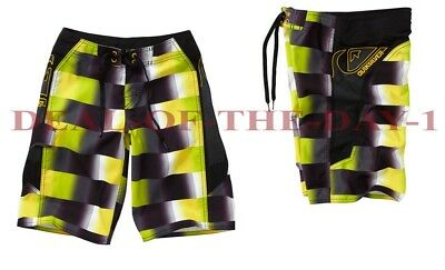 NWT $45 QUIKSILVER Talkabout Black/Yellow Boardshorts Boys Size 12 New