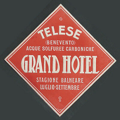 Grand Hotel TELESE Italy - vintage luggage label