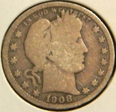 Barber Quarter - 1908-O - Overstock Sale! - $1 Unlimited Shipping -255