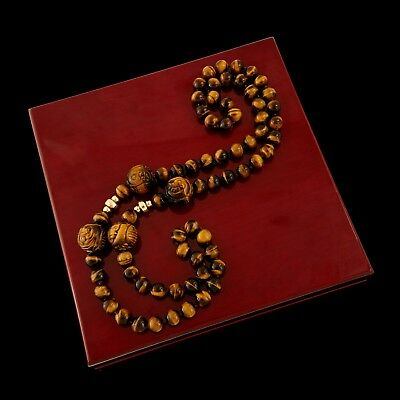 Antique Vintage Deco Retro 14k Gold Chinese Carved Tigers Eye Shou Bead Necklace