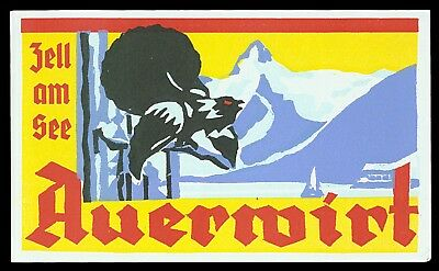 Hotel Auerwirt ZELL AM SEE Austria - vintage luggage label