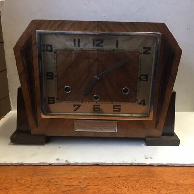 Art Deco English Westminster  Walnut Mantle Clock British Anvil  1930's FIXER