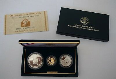 1992 Columbus Quincentenary 3-Coin Gold Proof Set  *Free S/H After 1st Item*