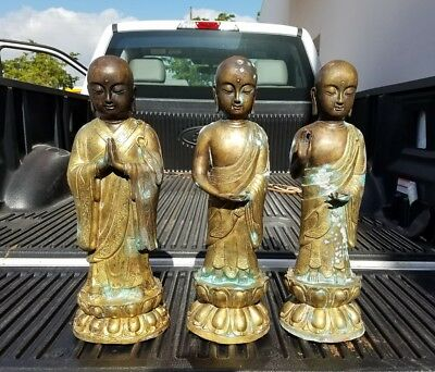 "3 Large Vintage Hollow Bronze Buddhist Monks Possibly Antique ""As Is"""