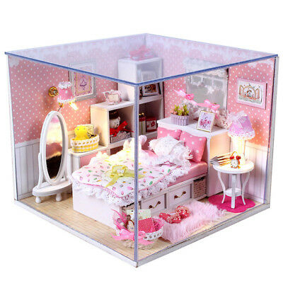 Wooden Doll House Miniature Kit w/ light Cover Dream Princess Room Furniture