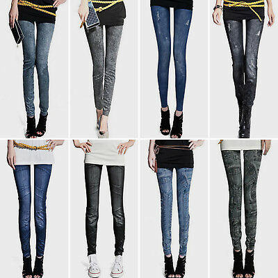 Women Skinny Slim Jeggings Stretchy Denim Pants Leggings Jeans Pencil Trousers