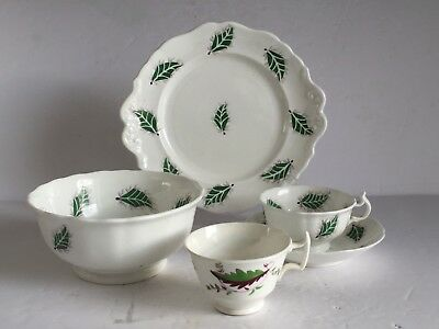 5pc Antique English Porcelain Hand Painted Green Leaf Pattern 338 NEW HALL