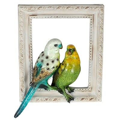 "Blue & Green Parakeets Budgies Figurine Sculptured Bird Frame 8"" High Resin New"