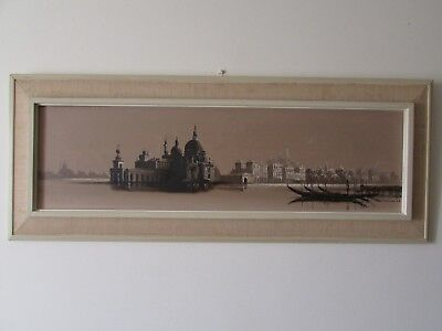 "Venice Scene Oil On Canvas Painting, Vintage / Retro 1968, Signed, 39"" X 15""."