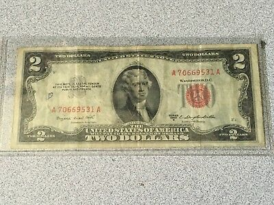1953 B United States $2 Two Dollar Bill Note Red Seal