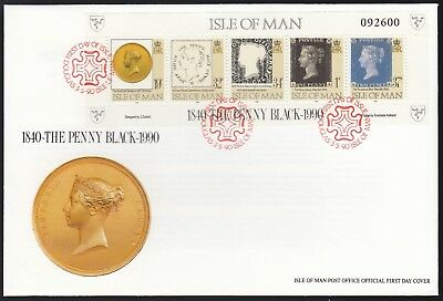 Isle of Man 1990 FDC 150th Anniversary of the Penny Black - Sheetlet of 5