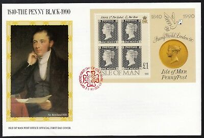 Isle of Man 1990 FDC MS 150th Anniversary of the Penny Black