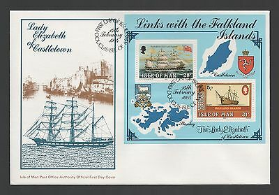 Isle of Man 1984 FDC MS Links with the Falkland Islands - Ships Theme