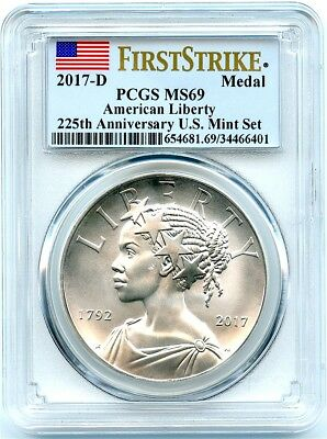 2017-D Uncirculated Silver Liberty Medal, PCGS MS-69 First Strike, Flashy!