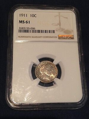 1911 Barber Dime Ngc Ms 61 Luster Silver Coin