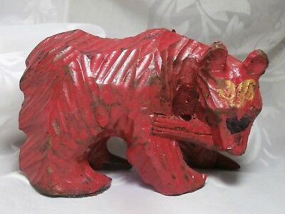 Vintage Antique Hand Carved Red Wooden Bear With Fish Figurine