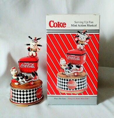 """1995 Enesco Coca Cola Action Musical """"Things Go Better With Coke"""" item # 168025"""