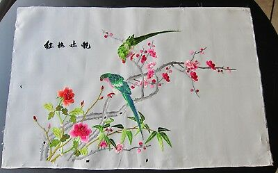 Vintage Chinese Japanese Silk Picture Hand Embroidered Parrots & Flowers Frame