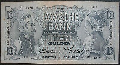 Netherlands Indies 1938 10 Gulden Note
