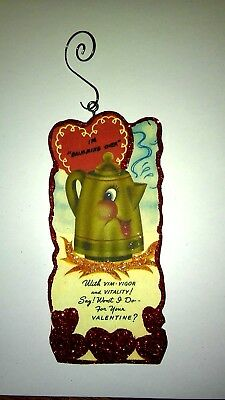 Vintage Valentine's Day  Card Glitter Wood Ornament Briming Over Coffee Pot