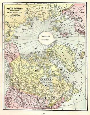 1898 Antique NORTH POLE Map ARCTIC Map North Polar Region Gallery Wall Art 4751